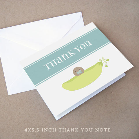 sweet pea boy baby shower thank you note