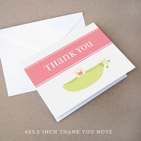 sweet pea girl baby shower thank you note