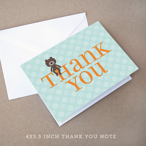 teddy bear boy baby shower thank you note