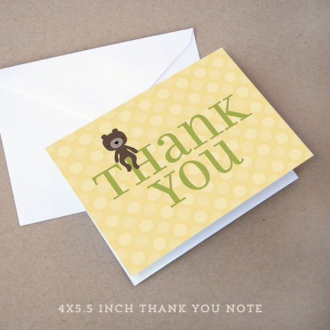 teddy bear neutral baby shower thank you note