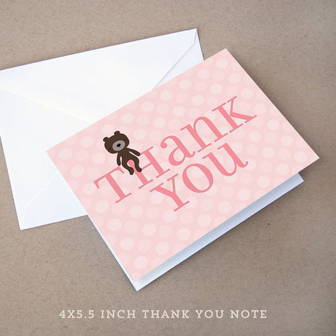 teddy bear girl baby shower thank you note