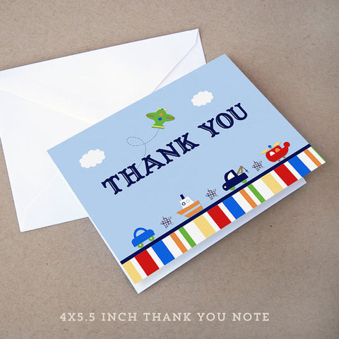 transportation boy baby shower thank you note