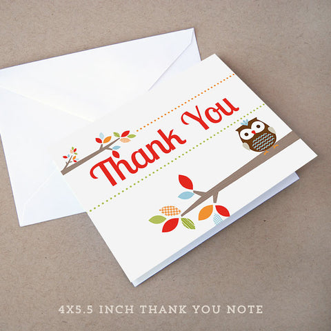 treetop friends owl baby shower thank you note