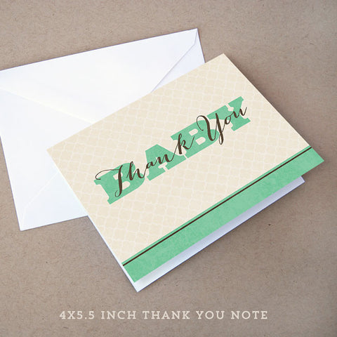 vintage baby shower thank you note neutral
