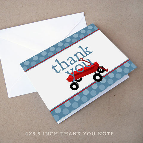 red wagon baby shower thank you note