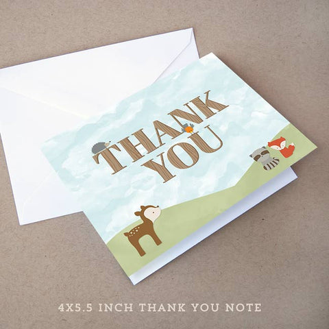 woodland baby shower thank you note
