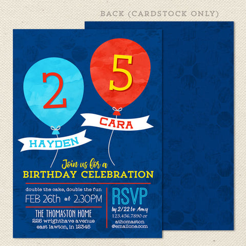Balloon Joint Birthday Invitation Red Blue Neutral