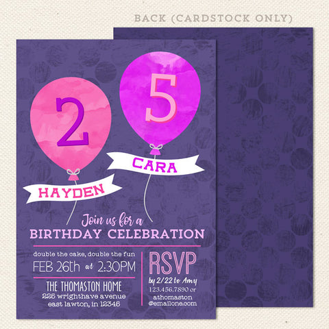 balloon joint birthday invitation pink purple
