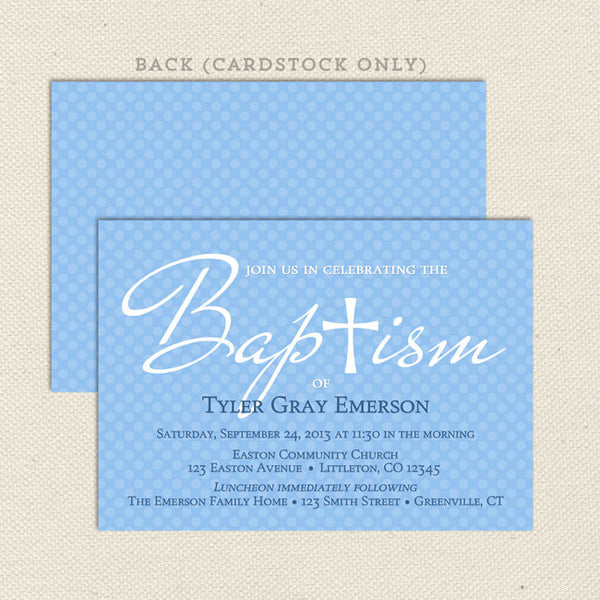 blue boy diy baptism invitation