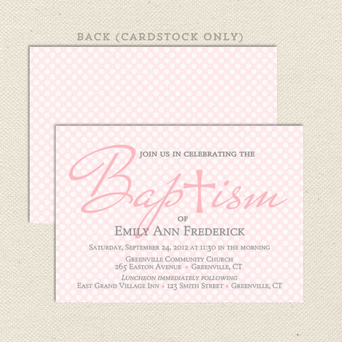 pink girl diy baptism invitation