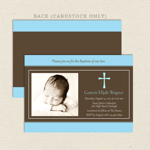 traditional photo baptism invitation boy blue