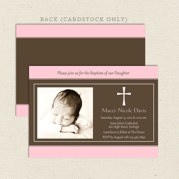 traditional photo baptism invitation girl pink