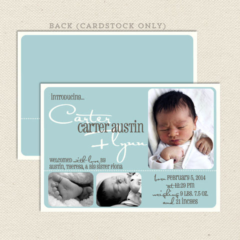 carter boys birth announcement