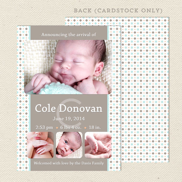 cole boy birth announcement