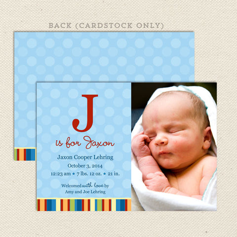 jaxon boy birth announcement
