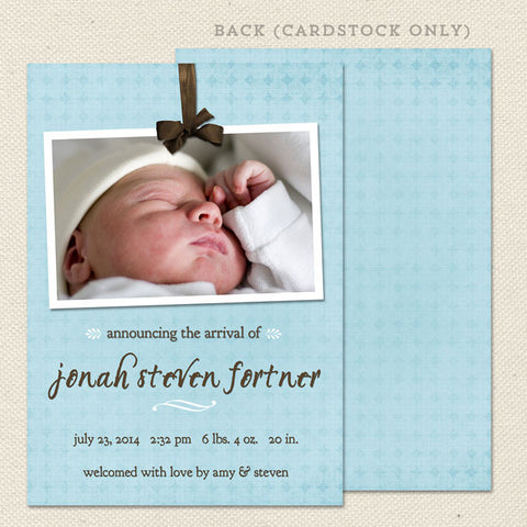 jonah boy birth announcement