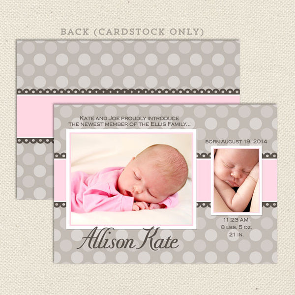allison girl birth announcement