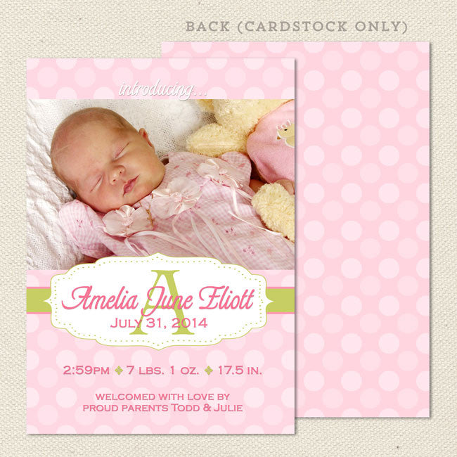 amelia girl birth announcement lil sprout greetings
