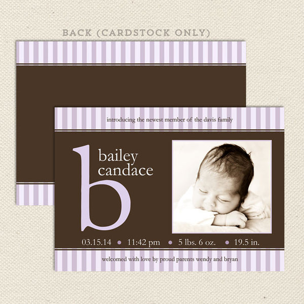 bailey girl birth announcement