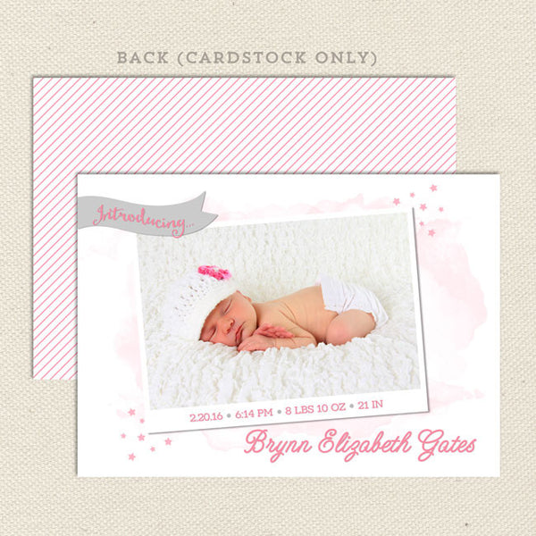 brynn girl birth announcement diy