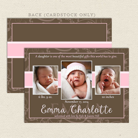 emma baby girl birth announcement