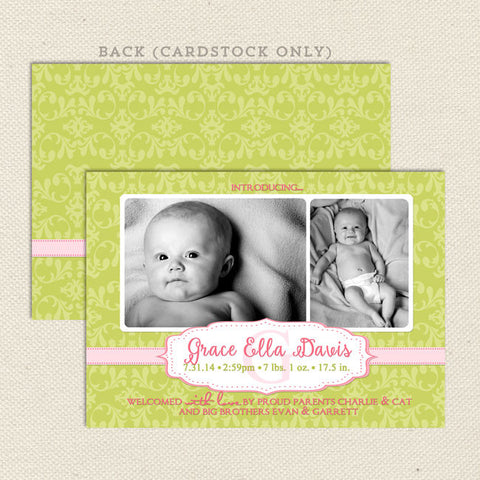 grace girl birth announcement green
