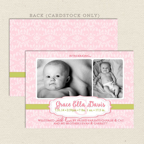 grace baby girl birth announcement pink