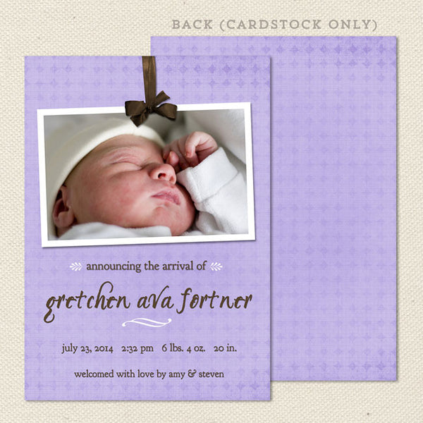 gretchen girl birth announcement purple