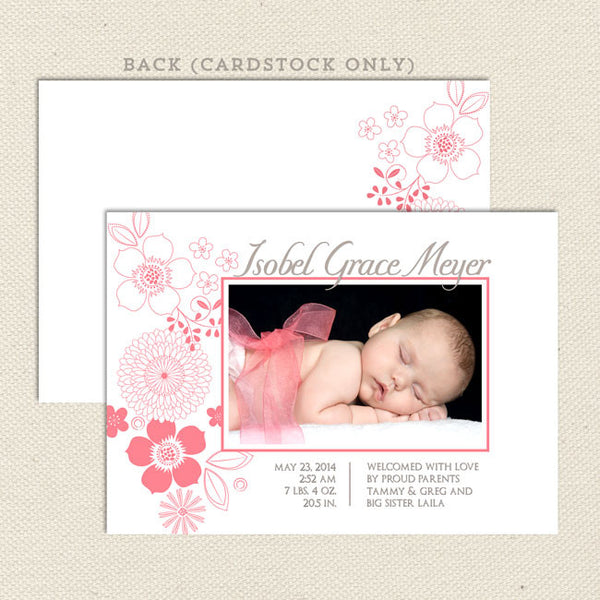 isobel baby girl birth announcement