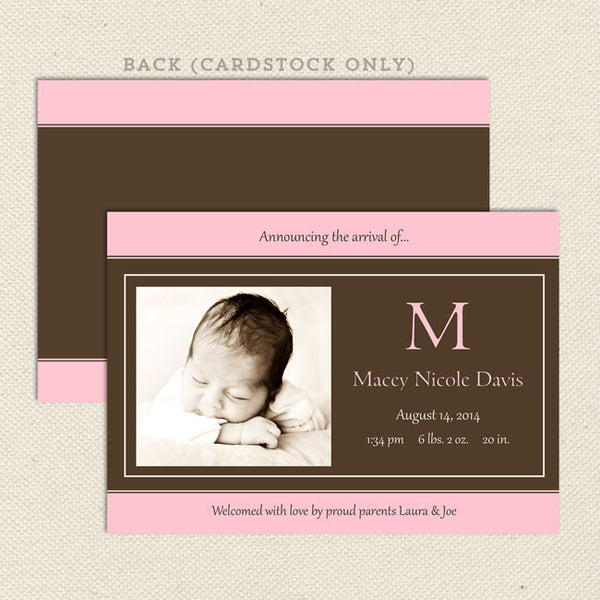 macey girls birth announcement