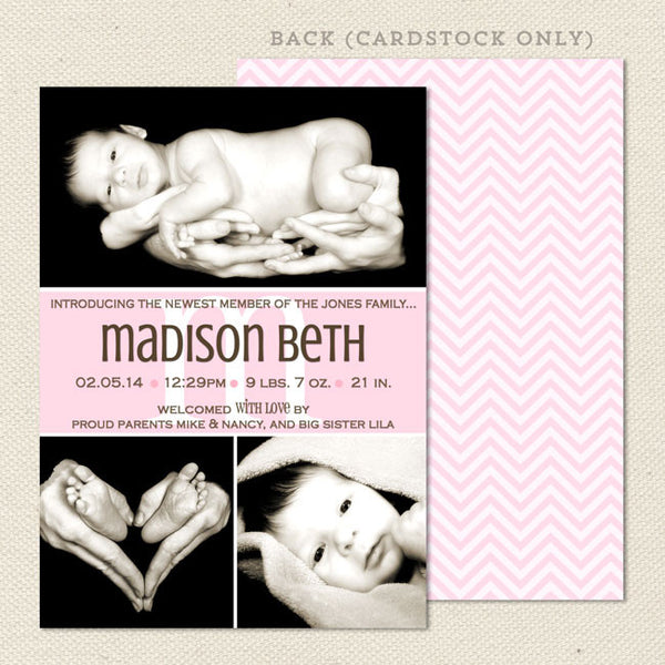 Madison Girl Photo Birth Announcement
