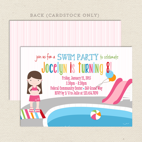girl birthday invitations pool swim