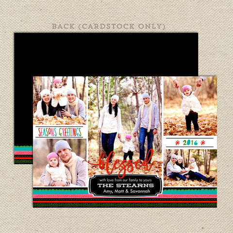 blessed family christmas card multi-color