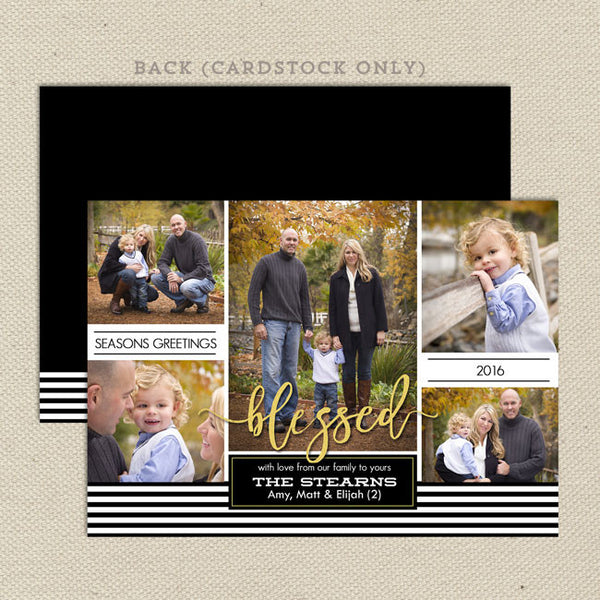 blessed family christmas card black white stripes