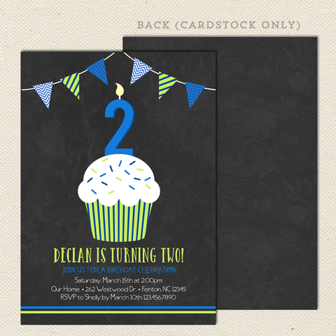 chalkboard cupcake boy printable birthday invitations