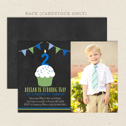 chalkboard cupcake boy printable birthday invitations with picture