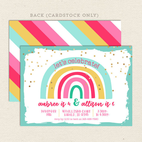 Cheerful Rainbow Double Birthday Party Invitation