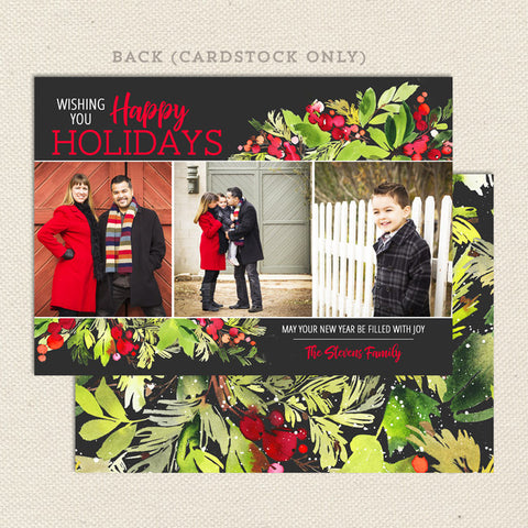 christmas holly printable photo card black