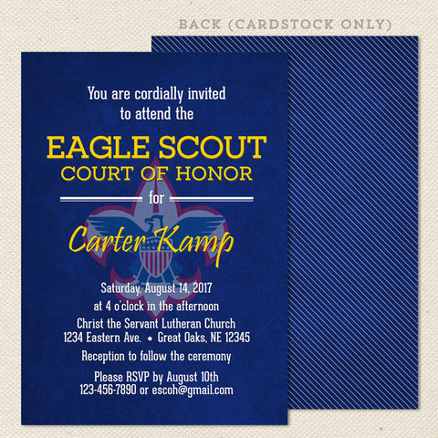 eagle scout court of honor invitation without photo