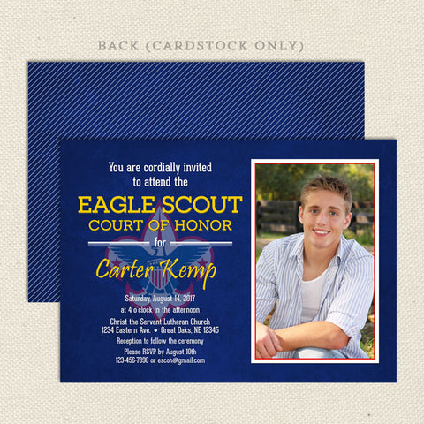 eagle scout court of honor invitation with photo