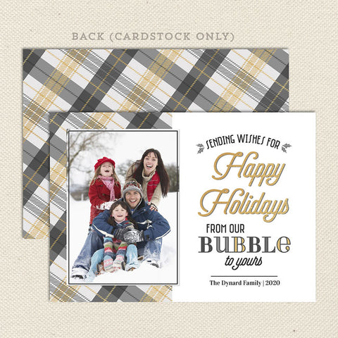 gray and gold plaid covid bubble themed holiday christmas card