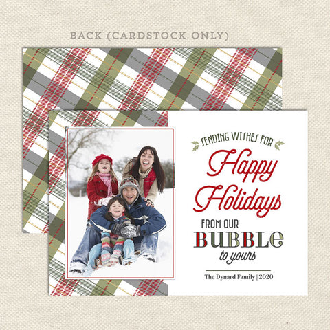 red green plaid covid bubble themed holiday christmas card