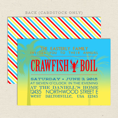 crawfish boil seafood party invitation