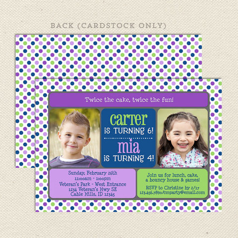 double the fun joint birthday invitation blue purple