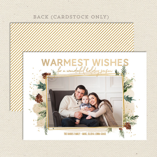 evergreen and gold christmas photo card