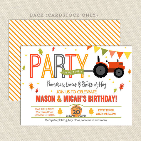 Fall Farm Joint Birthday Invitations