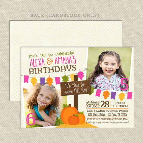 fall harvest joint birthday invitation girl