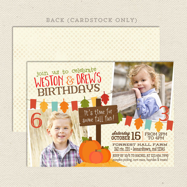 Sample Invitation Double Celebration. Fall Harvest Double Birthday Invitations  Lil Sprout Greetings