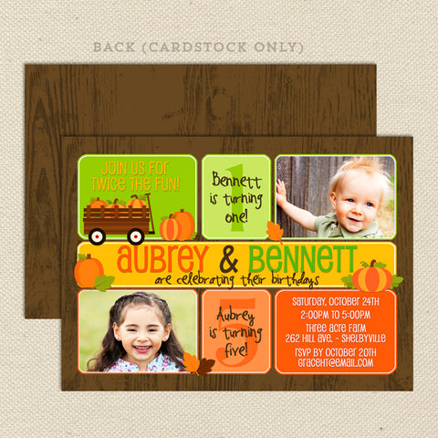 fall pumpkin patch neutral birthday invitation