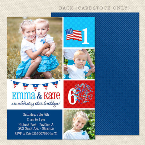 fourth of july joint birthday party invitations